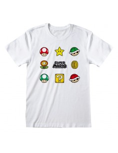 Camiseta Nintendo Super Mario - Items - Talla Adulto TALLA CAMISETA S
