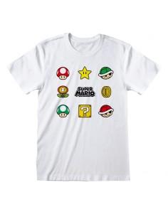 Camiseta Nintendo Super Mario - Items - Talla Adulto TALLA CAMISETA XL