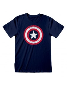 Camiseta Marvel Comics Captain America - Shield Distressed - Unisex - Talla Adulto TALLA CAMISETA XL