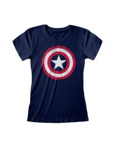 Camiseta Marvel Comics Captain America - Shield Distressed - Mujer - Talla Adulto TALLA CAMISETA XL