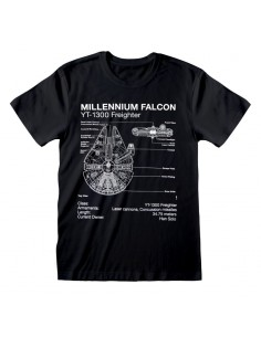 Camiseta Star Wars - Millenium Falcon Sketch  - Unisex - Talla Adulto TALLA CAMISETA S