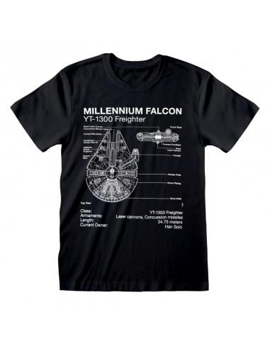 Camiseta Star Wars - Millenium Falcon Sketch  - Unisex - Talla Adulto TALLA CAMISETA M